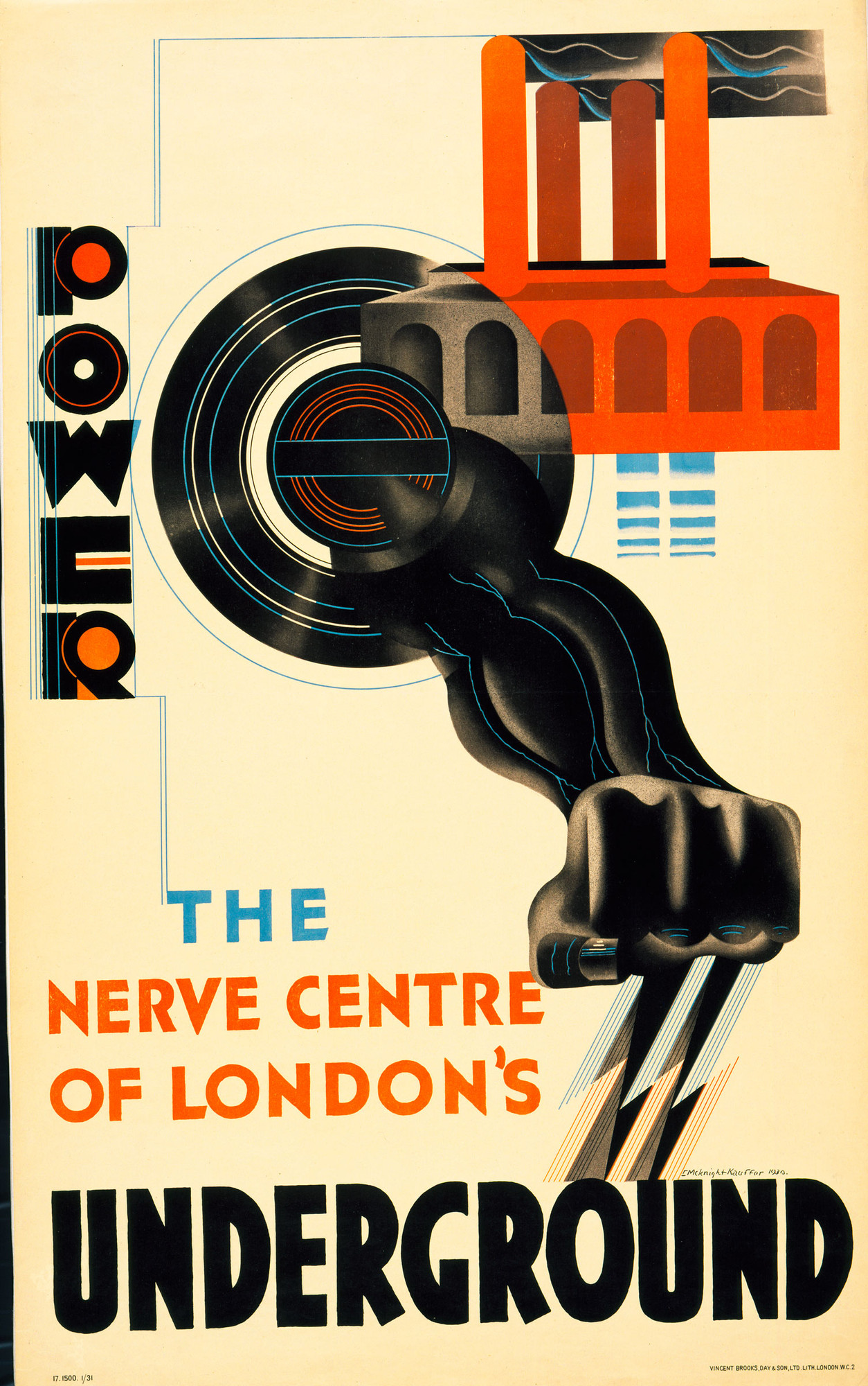 E. McKnight Kauffer. Power, The Nerve Centre of London's Underground. 1930. Lithograph, 40 5⁄8 × 24 3/4″ (103.2 × 62.9cm). The Museum of Modern Art, New York. Gift of the artist