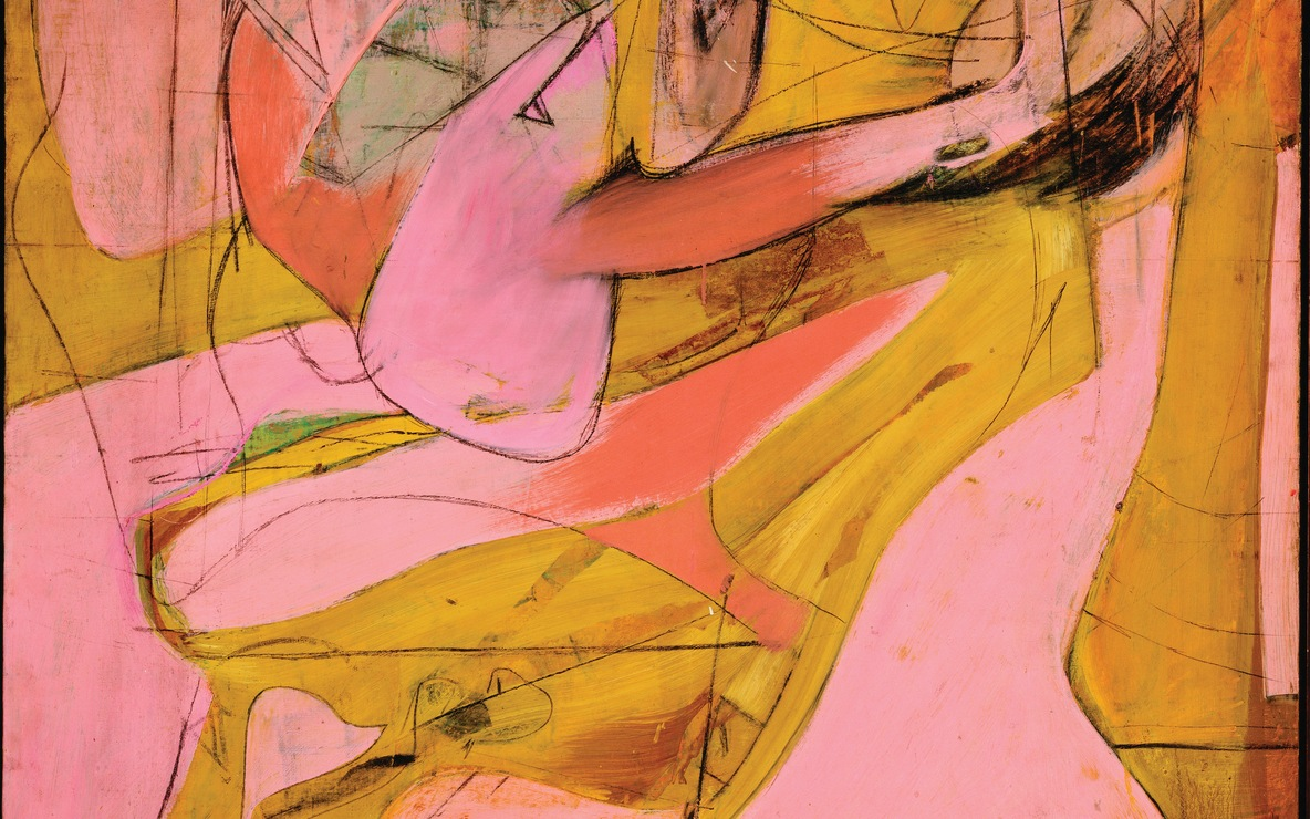 Willem de Kooning. *Pink Angels.* c. 1945. Oil and charcoal on canvas, 52 × 40″ (132.1 × 101.6 cm). Frederick R. Weisman Art Foundation, Los Angeles. © 2011 The Willem de Kooning Foundation/Artists Rights Society (ARS), New York
