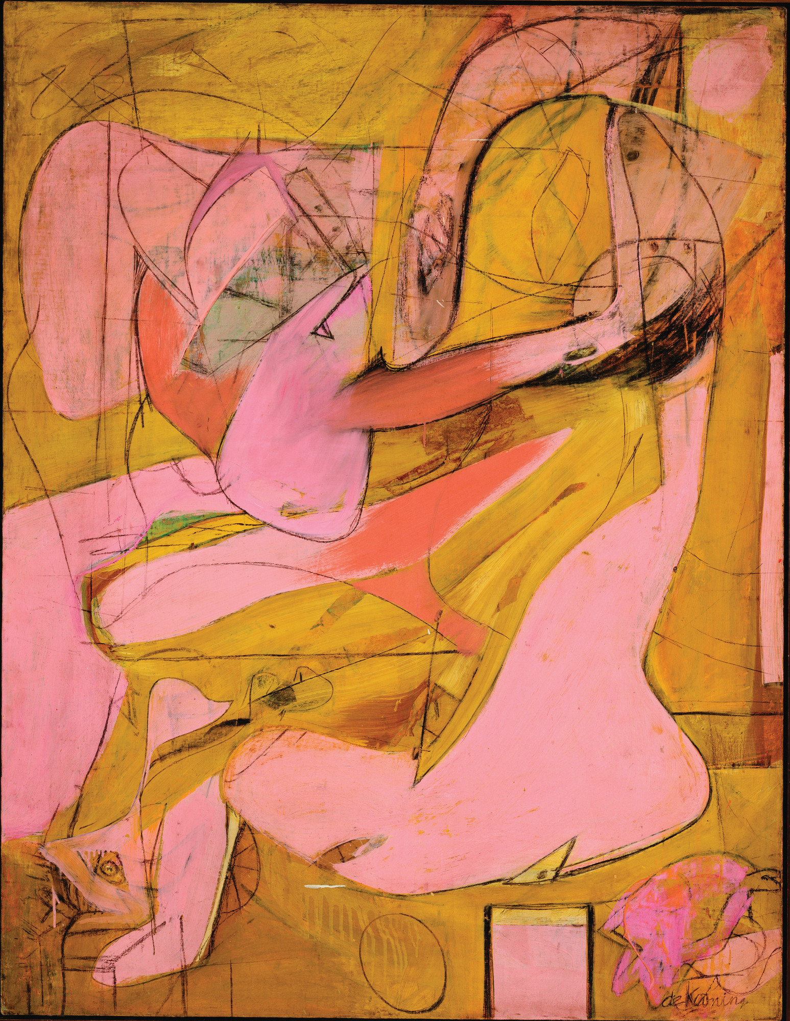 Willem de Kooning. Pink Angels. c. 1945. Oil and charcoal on canvas, 52 × 40″ (132.1 × 101.6 cm). Frederick R. Weisman Art Foundation, Los Angeles. © 2011 The Willem de Kooning Foundation/Artists Rights Society (ARS), New York