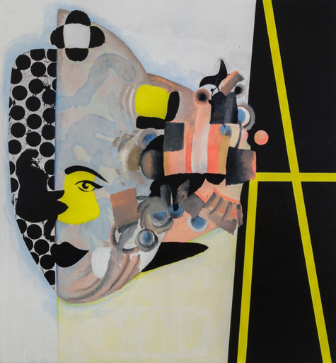 "Charline von Heyl. Carlotta. 2013. Oil, acrylic, and charcoal on canvas, 6' 10"" x 6' 4"" (208.3 x 193 cm). Ovitz Family Collection, Los Angeles. Courtesy the artist and Petzel, New York. Photo: Jason Mandella"