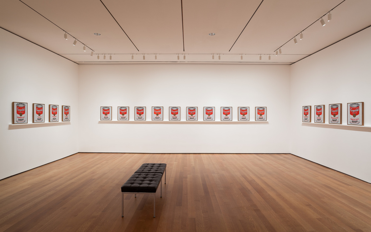 Installation view of *Andy Warhol:* Campbell's Soup Cans *and Other Works, 1953–1967*. Photo: Jonathan Muzikar. © 2015 The Museum of Modern Art, New York