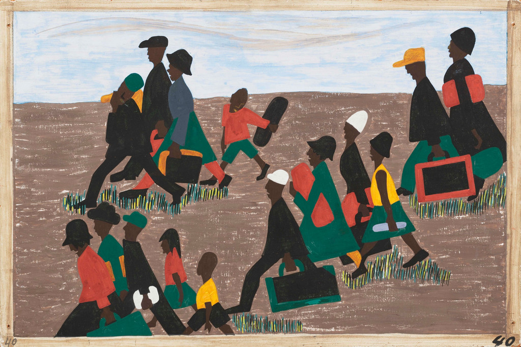 "Jacob Lawrence (American, 1917–2000). *The migrants arrived in great numbers*, 1940-41. Casein tempera on hardboard. 12 x 18"" (30.5 x 45.7 cm). Gift of Mrs. David M. Levy. © 2014 Jacob Lawrence"
