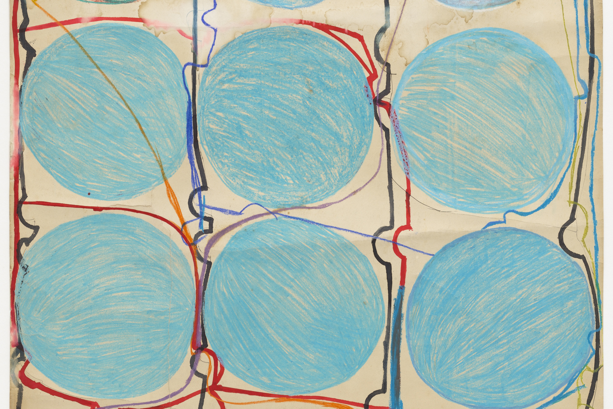 Atsuko Tanaka. Untitled. 1956. Watercolor and felt-tip pen on paper, 42 7/8 × 30 3/8″ (108.9 × 77.2 cm). The Museum of Modern Art, New York. Purchased with funds provided by the Edward John Noble Foundation, Frances Keech Fund, and Committee on Drawings Funds. © 2010 Ryoji Ito