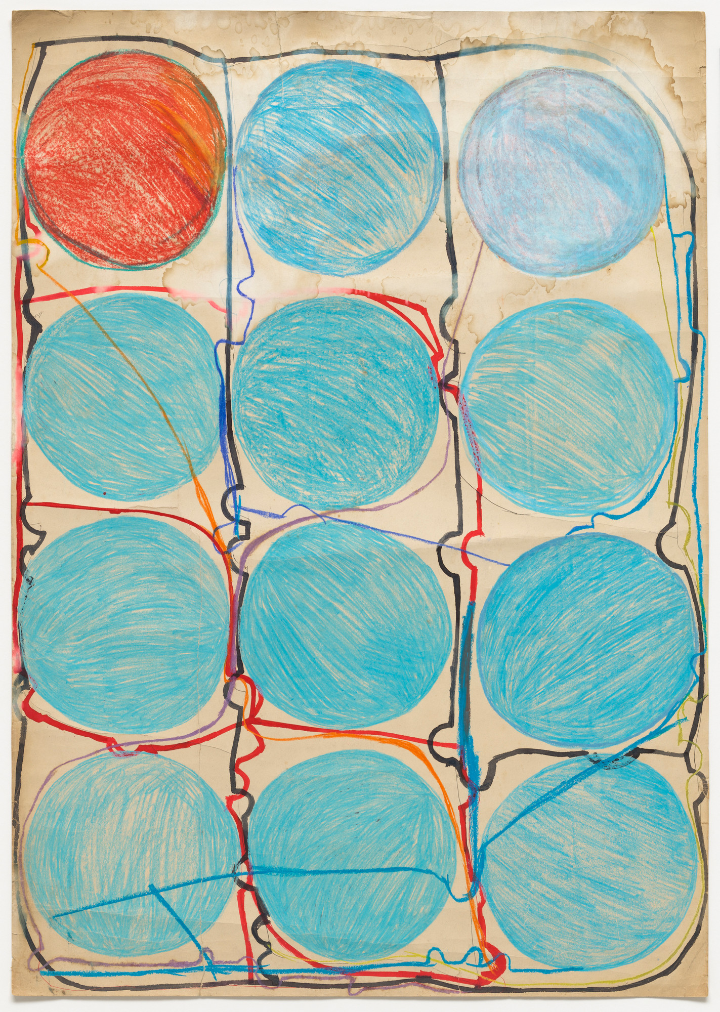 Atsuko Tanaka. Untitled. 1956. Watercolor and felt-tip pen on paper, 42 7⁄8 × 30 3/8″ (108.9 × 77.2 cm). The Museum of Modern Art, New York. Purchased with funds provided by the Edward John Noble Foundation, Frances Keech Fund, and Committee on Drawings Funds. © 2010 Ryoji Ito