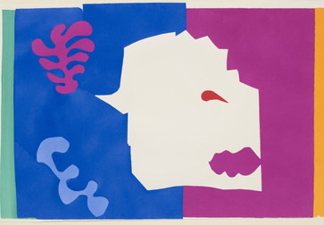 "Henri Matisse (French, 1869–1954). The Wolf (Le Loup) from Jazz. 1947. One from a portfolio of twenty pochoirs, composition (irreg.): 16 ½ × 24 15/16"" (41.9 × 63.4 cm); sheet: 16 5/8 × 25 11/16"" (42.3 × 65.3 cm). Gift of the artist. © 2014 Succession H. Matisse / Artists Rights Society (ARS), New York"