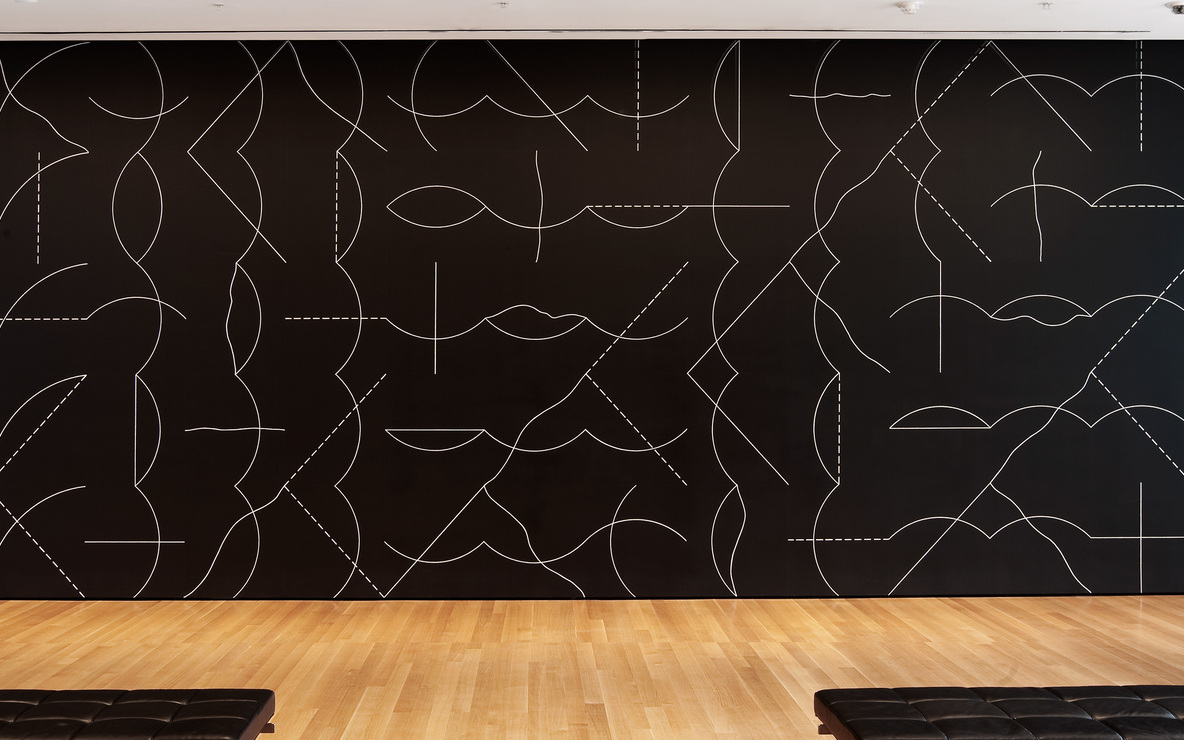 Installation view of Sol LeWitt's *Wall Drawing #260* at The Museum of Modern Art, 2008. Sol LeWitt. *Wall Drawing #260.* 1975. Chalk on painted wall, dimensions variable. Gift of an anonymous donor. © 2008 Sol LeWitt/Artists Rights Society (ARS), New York. Photo © Jason Mandella