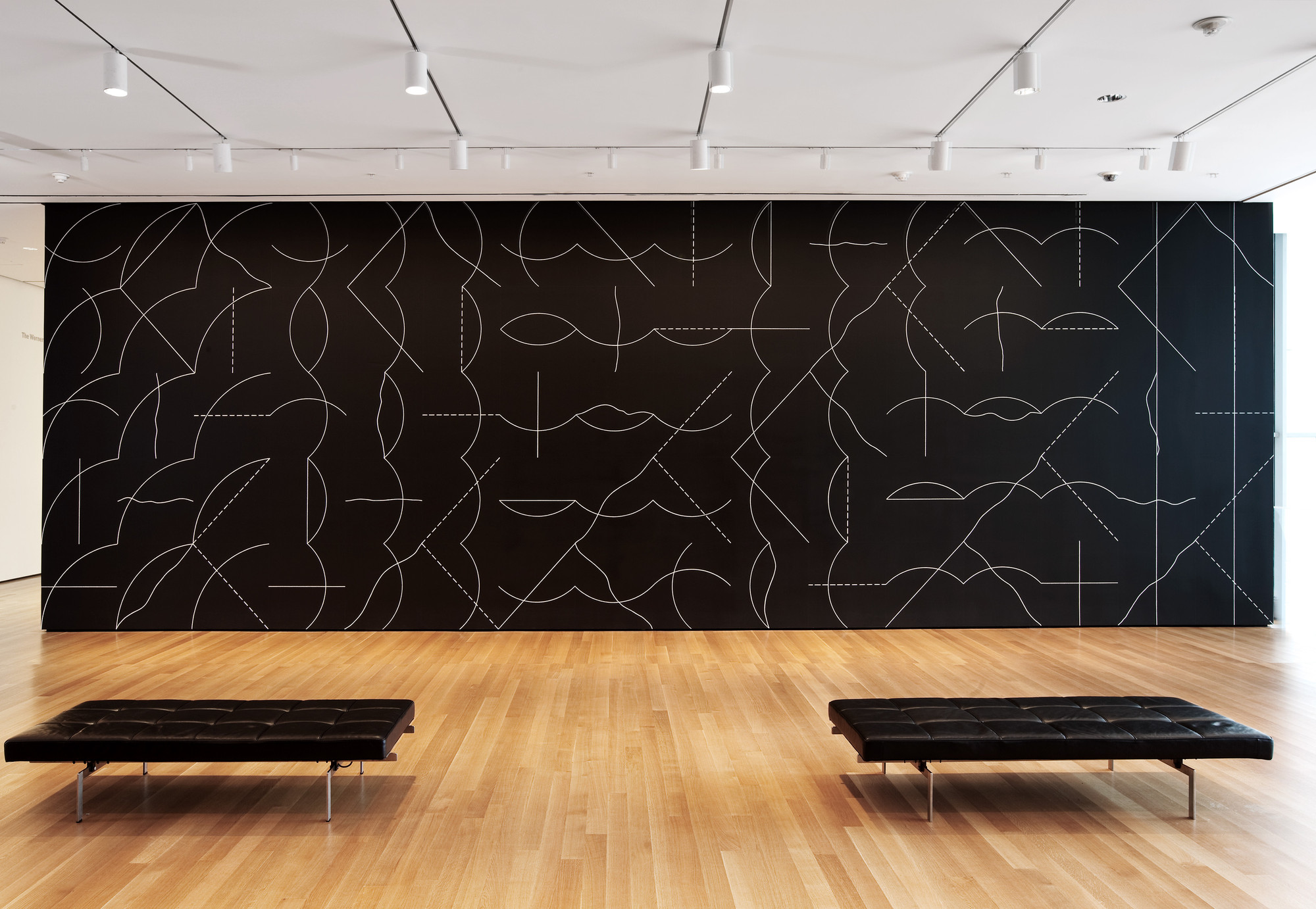 Installation view of Sol LeWitt's Wall Drawing #260 at The Museum of Modern Art, 2008. Sol LeWitt. Wall Drawing #260. 1975. Chalk on painted wall, dimensions variable. Gift of an anonymous donor. © 2008 Sol LeWitt/Artists Rights Society (ARS), New York. Photo © Jason Mandella