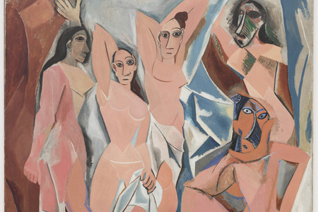 Pablo Picasso. <em>Les Demoiselles d'Avignon.</em> 1907. Oil on canvas, 8′ × 7′ 8″ (243.9 × 233.7 cm). Acquired through the Lillie P. Bliss Bequest. © 2005 Estate of Pablo Picasso/Artists Rights Society (ARS), New York