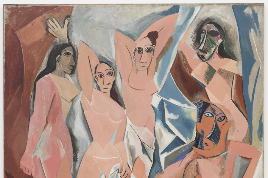 Pablo Picasso. Les Demoiselles d'Avignon. 1907. Oil on canvas, 8′ × 7′ 8″ (243.9 × 233.7 cm). Acquired through the Lillie P. Bliss Bequest. © 2005 Estate of Pablo Picasso/Artists Rights Society (ARS), New York