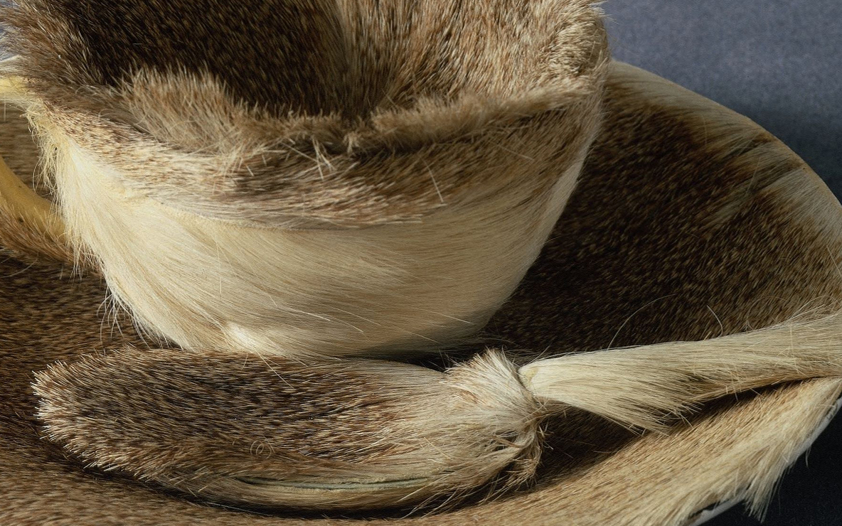 Meret Oppenheim. *Object.* 1936. Fur-covered cup, saucer, and spoon, cup 4 3/8″ (10.9 cm) in diameter; saucer 9 3/8″ (23.7 cm) in diameter; spoon 8″ (20.2 cm) long, overall height 2 7/8″ (7.3 cm). Purchase. © 2009 Artists Rights Society (ARS), New York/Pro Litteris, Zurich