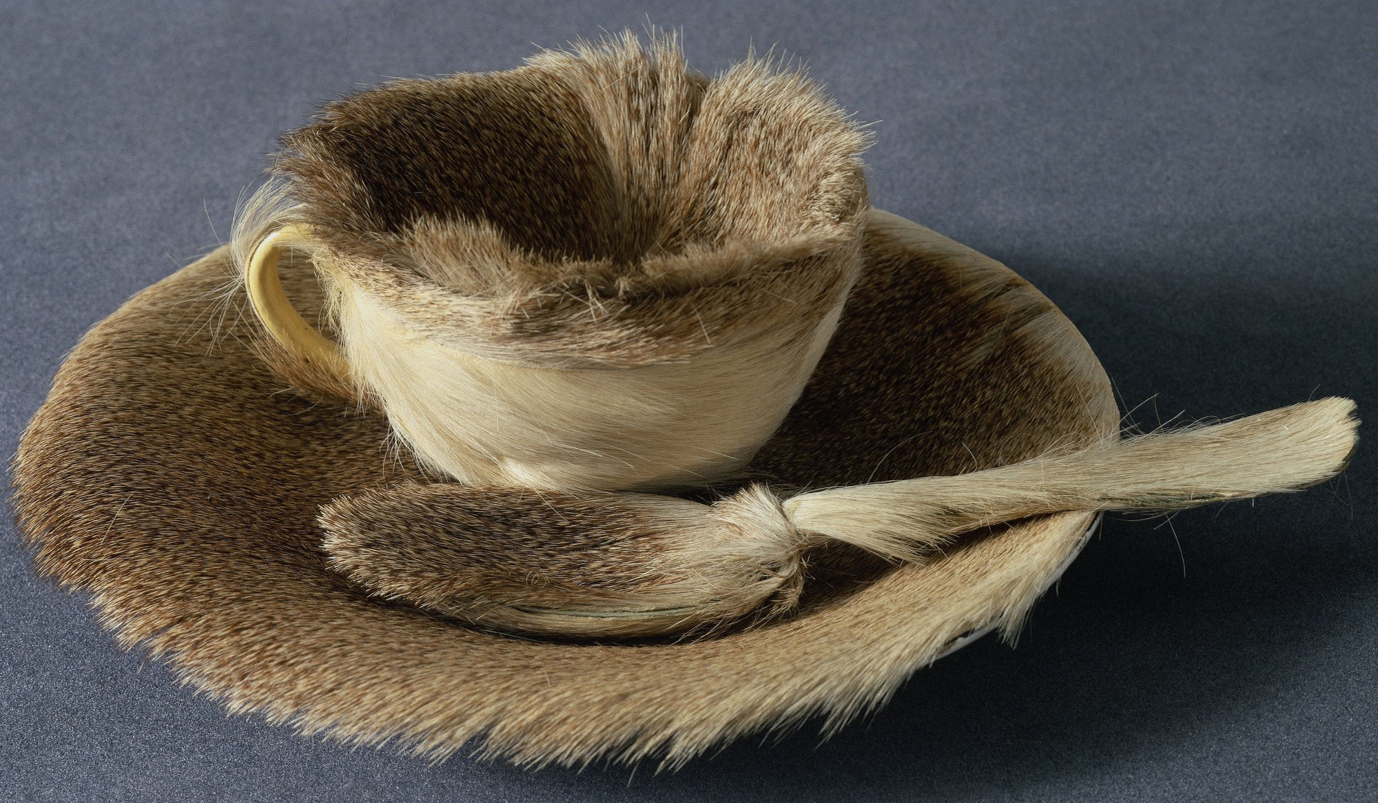 "Meret Oppenheim. Object. 1936. Fur-covered cup, saucer, and spoon, cup 4 3/8"" (10.9 cm) in diameter; saucer 9 3/8"" (23.7 cm) in diameter; spoon 8"" (20.2 cm) long, overall height 2 7/8"" (7.3 cm). Purchase. © 2009 Artists Rights Society (ARS), New York/Pro Litteris, Zurich"