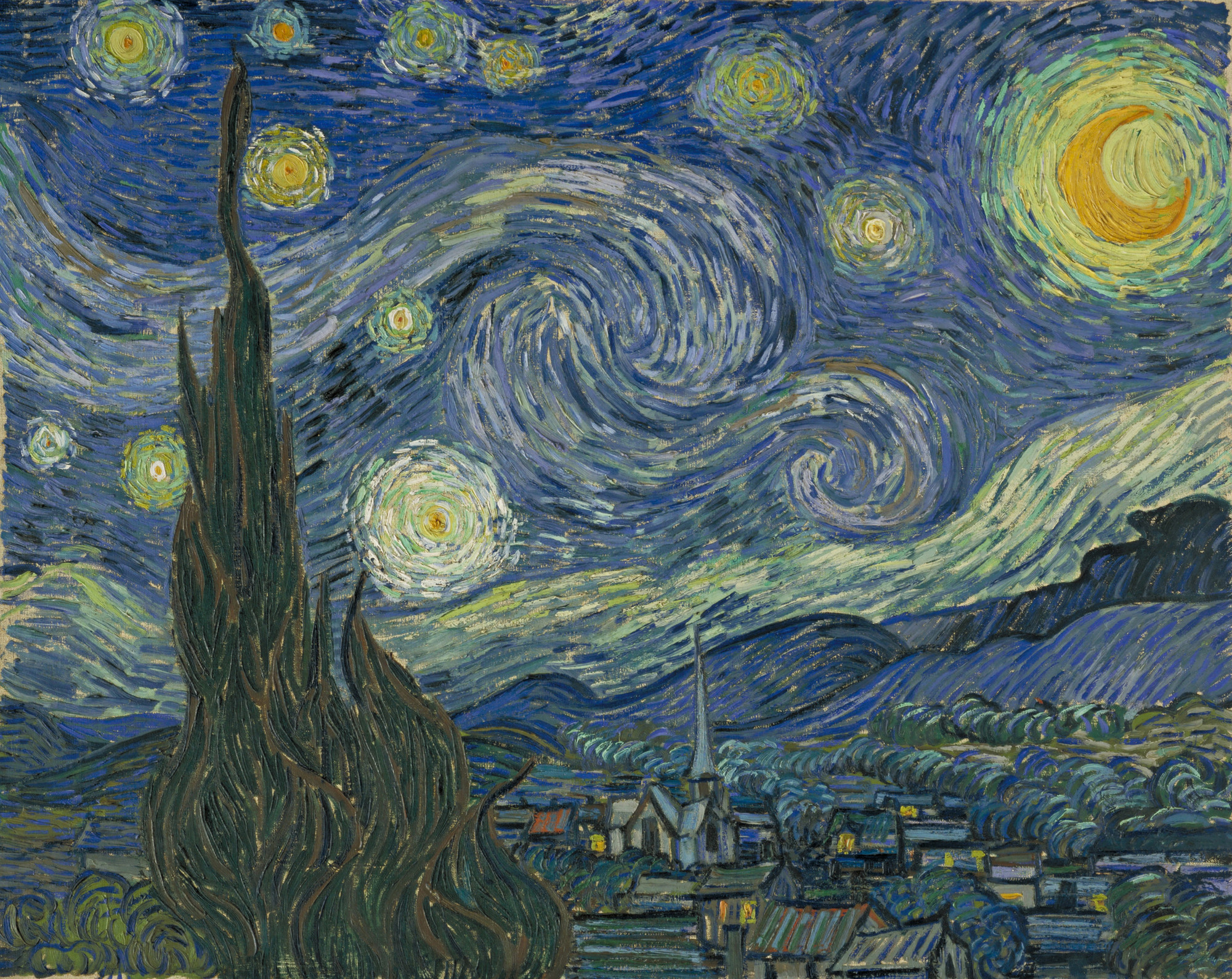 Vincent van Gogh. The Starry Night. Saint Rémy, June 1889. Oil on canvas, 29 × 36 1/4ʺ (73.7 × 92.1 cm). Acquired through the Lillie P. Bliss Bequest. Photo © 1999 The Museum of Modern Art, N.Y.