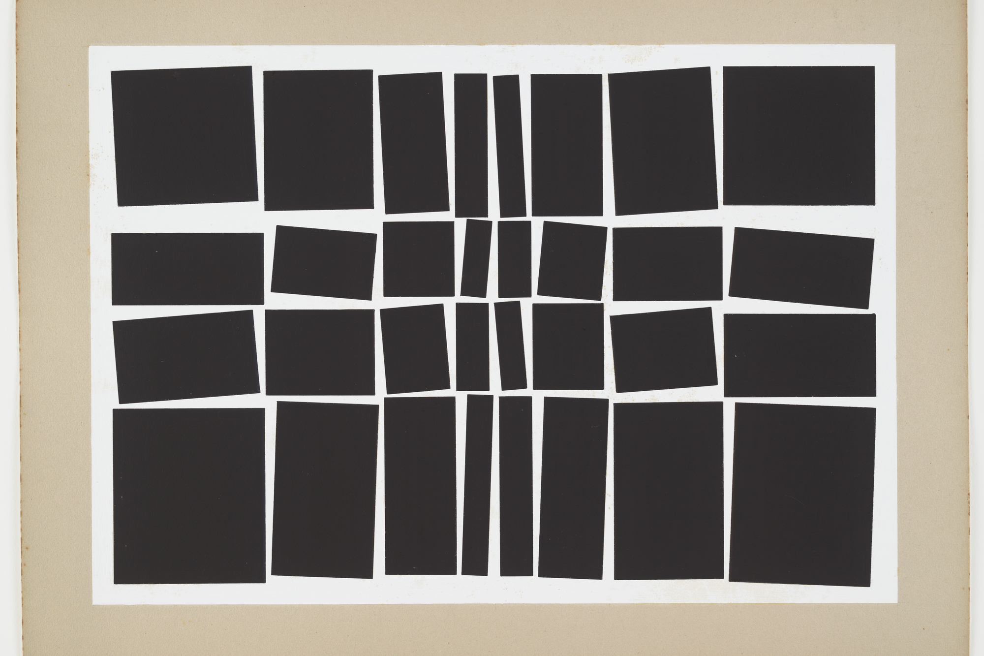 Hélio Oiticica. Metaesquema. 1959. Gouache on board. 19 7/8 × 26 3/4″ (50.5 × 68 cm). The Museum of Modern Art. Purchased with funds given by Patricia Phelps de Cisneros in honor of Paulo Herkenhoff, 1997. © 2008 Projeto Hélio Oiticica