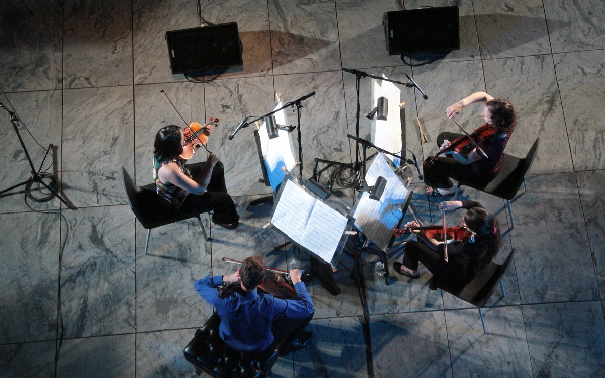 The New Juilliard Ensemble string quartet. Photo by Ted Sullivan