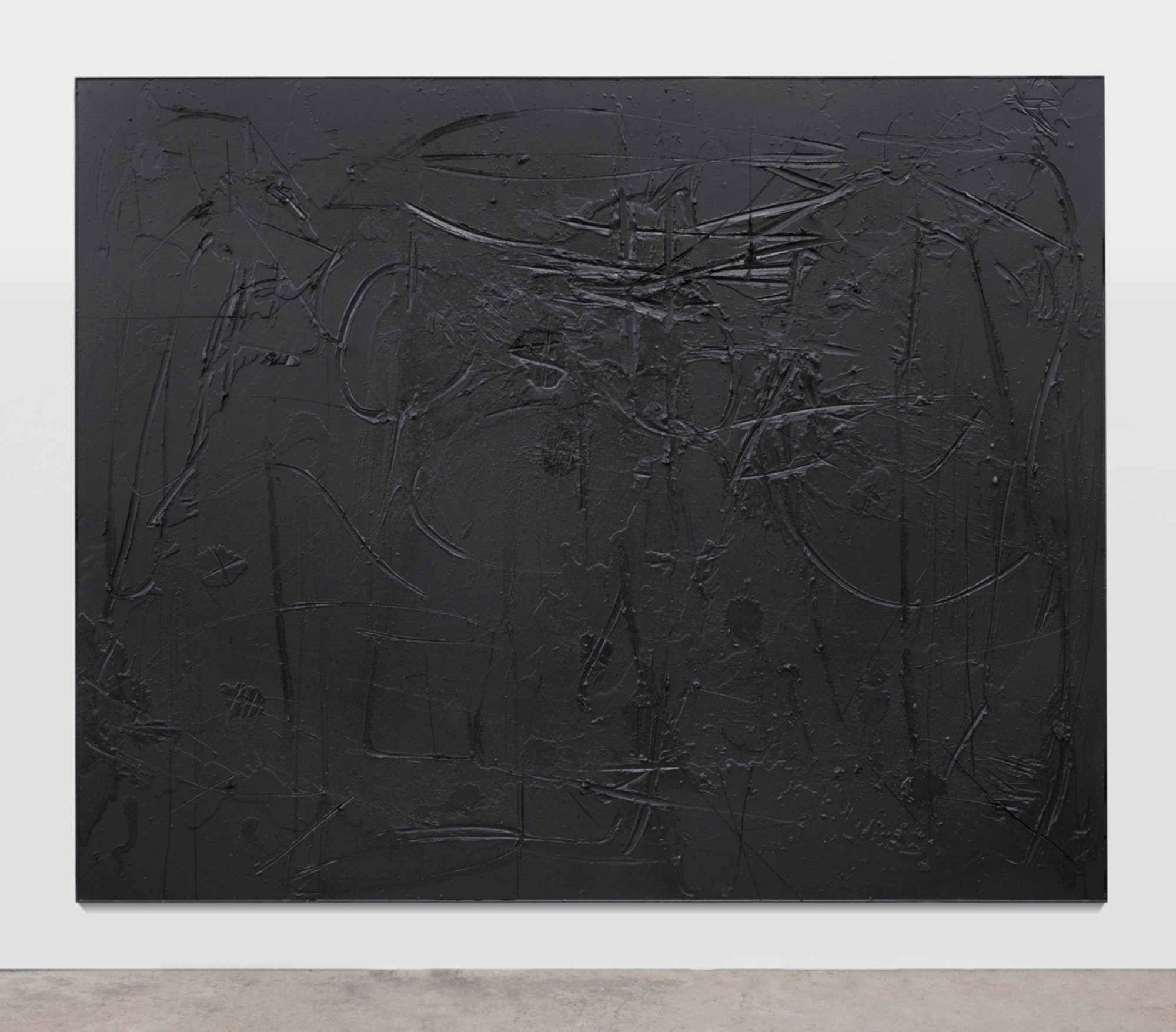 "Rashid Johnson. Cosmic Slop ""Black Orpheus"". 2011. Black soap and wax, 8' 10"" × 10' (243.8 × 304.8). Richard Chang. Courtesy the artist and Hauser & Wirth. Photo: Martin Parsekian"