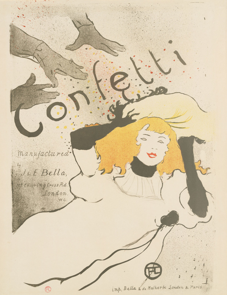 Henri de Toulouse-Lautrec (French, 1864–1901). Confetti. 1894. Lithograph, sheet: 22 7/16 x 17 9/16 in. (57 x 44.6 cm) The Museum of Modern Art, New York. Acquired in honor of Joanne M. Stern by the Committee on Prints and Illustrated Books in appreciation for her contribution as Committee Chair, 1999