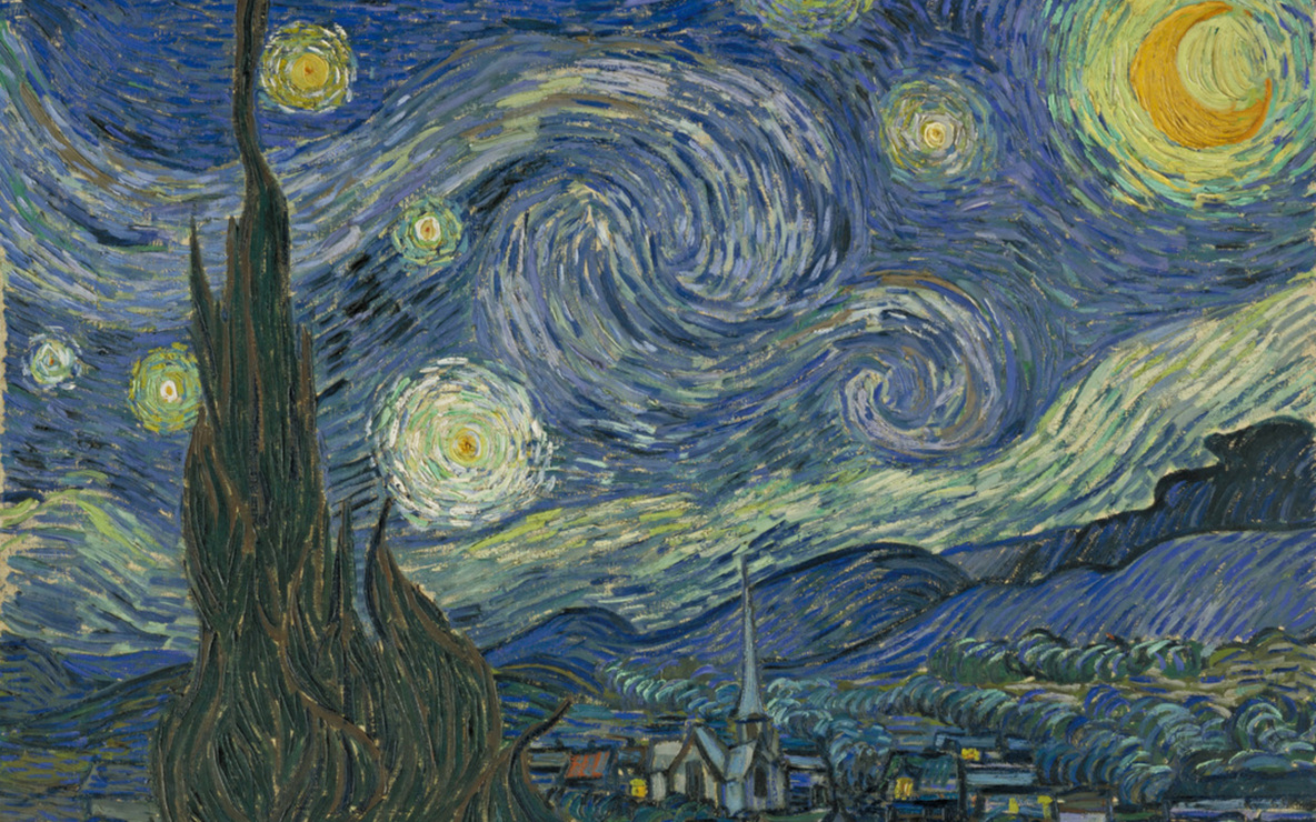 "Vincent van Gogh. *The Starry Night.* 1889. Oil on canvas, 29 x 36 1/4"" (73.7 x 92.1 cm). The Museum of Modern Art, New York. Acquired through the Lillie P. Bliss Bequest"