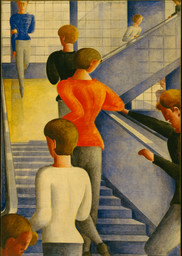 Oskar Schlemmer. *Bauhaus Stairway.* 1932. Oil on canvas. 63 7/8 × 45″ (162.3 × 114.3 cm). The Museum of Modern Art, New York. Gift of Philip Johnson. © 2009 Estate of Oskar Schlemmer, Munich/Germany