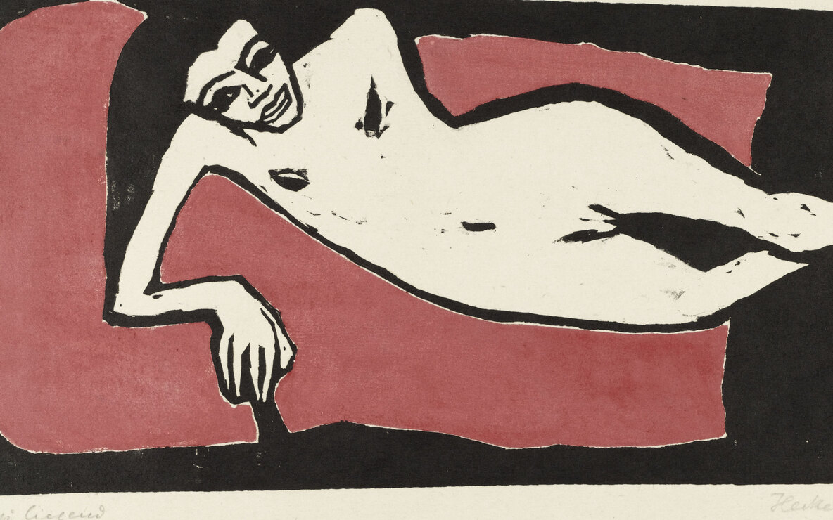 Erich Heckel. *Fränzi Reclining (Fränzi liegend).* 1910. Woodcut. Composition: 8 15/16 × 16 9/16″ (22.6 × 42.1 cm). Publisher: unknown. Printer: probably the artist, Dresden. Edition: unknown. The Museum of Modern Art, New York. Gift of Mr. and Mrs. Otto Gerson. © 2001 Artists Rights Society (ARS), New York/VG Bild-Kunst, Bonn