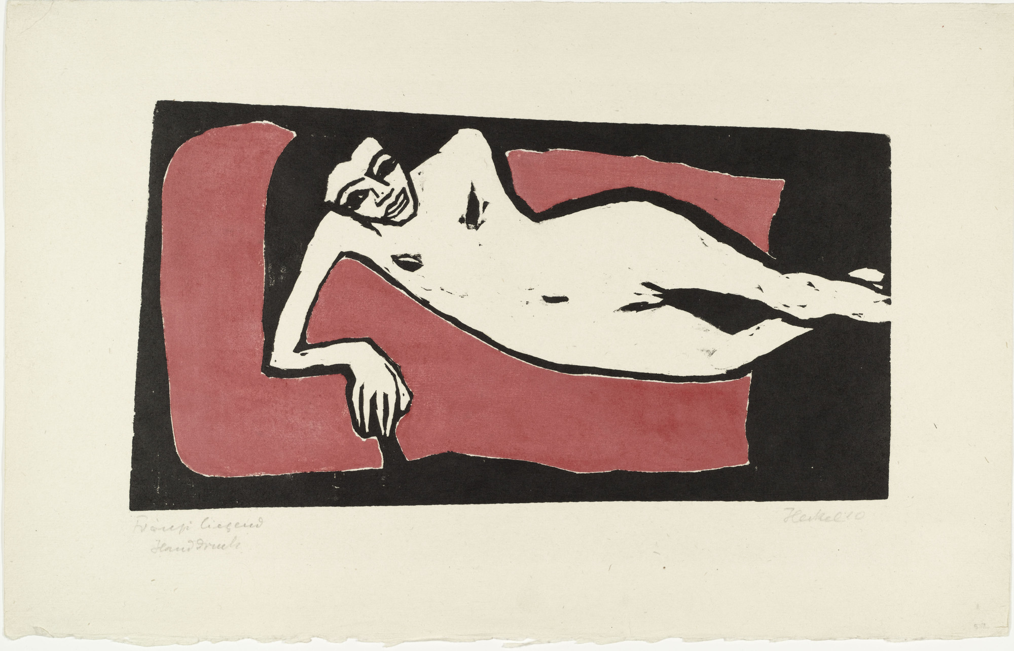 Erich Heckel. Fränzi Reclining (Fränzi liegend). 1910. Woodcut. Composition: 8 15/16 × 16 9/16″ (22.6 × 42.1 cm). Publisher: unknown. Printer: probably the artist, Dresden. Edition: unknown. The Museum of Modern Art, New York. Gift of Mr. and Mrs. Otto Gerson. © 2001 Artists Rights Society (ARS), New York/VG Bild-Kunst, Bonn