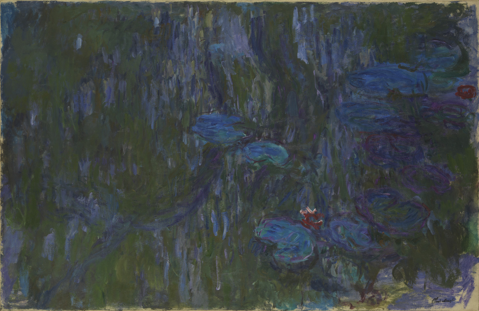 "Claude Monet. Water Lilies, Reflections of Weeping Willows. 1914–1926. Oil on canvas. 51 1/4"" x 78 3/4"" (130.2 x 200 cm). Private collection. Image © The Metropolitan Museum of Art"