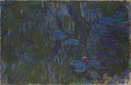 Claude Monet. Water Lilies, Reflections of Weeping Willows. 1914–1926. Oil on canvas. 51 1/4″ × 78 3/4″ (130.2 × 200 cm). Private collection. Image © The Metropolitan Museum of Art