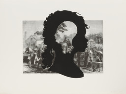"Kara Walker. Exodus of Confederates from Atlanta, from the portfolio Harper's Pictorial History of the Civil War (Annotated). 2005. One from a portfolio of fifteen lithograph and screenprints, 39 1⁄16 x 52 15⁄16"" (99.2 x 134.4 cm). Publisher and printer: LeRoy Neiman Center for Print Studies, Columbia University, New York. Edition: 35. The Museum of Modern Art. General Print Fund and The Ralph E. Shikes Fund. © 2007 Kara Walker"