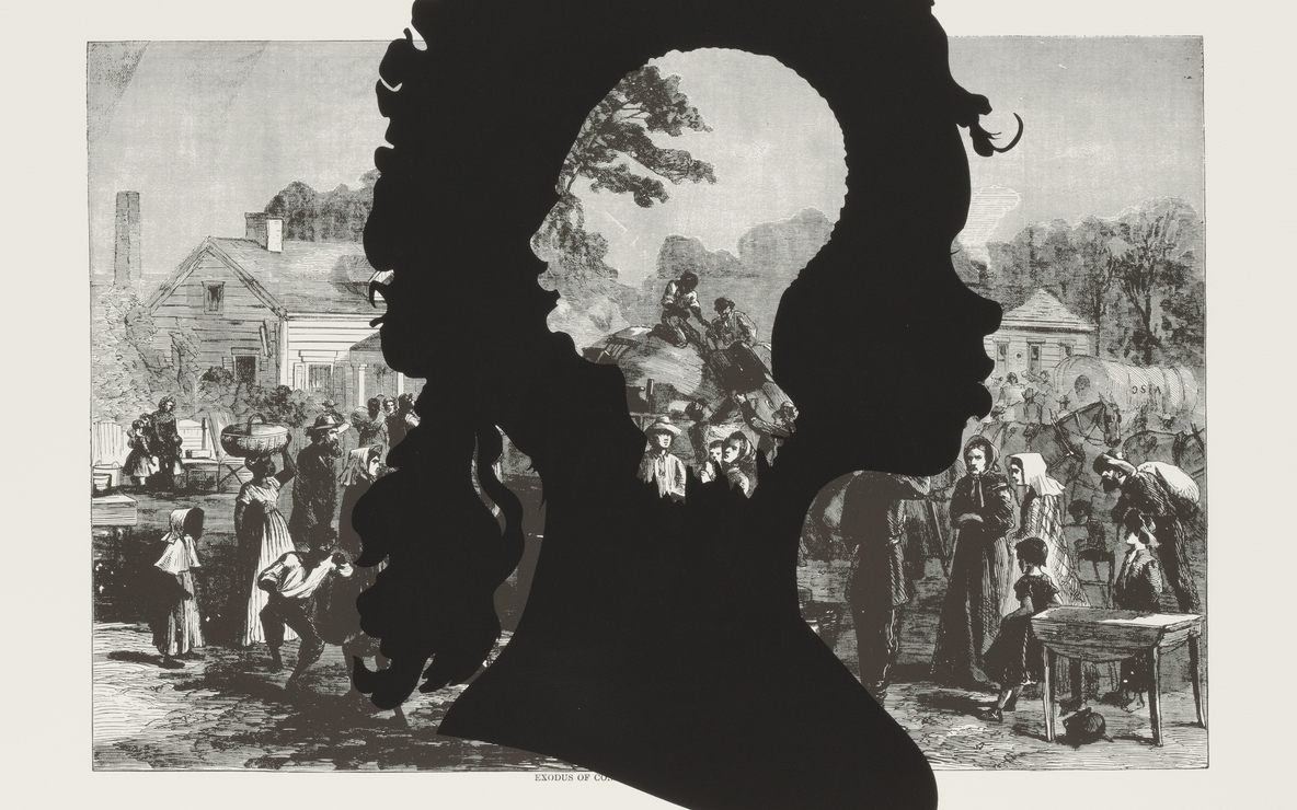 "Kara Walker. *Exodus of Confederates from Atlanta*, from the portfolio *Harper's Pictorial History of the Civil War (Annotated).* 2005. One from a portfolio of fifteen lithograph and screenprints, 39 1/16 x 52 15/16"" (99.2 x 134.4 cm). Publisher and printer: LeRoy Neiman Center for Print Studies, Columbia University, New York. Edition: 35. The Museum of Modern Art. General Print Fund and The Ralph E. Shikes Fund. © 2007 Kara Walker"