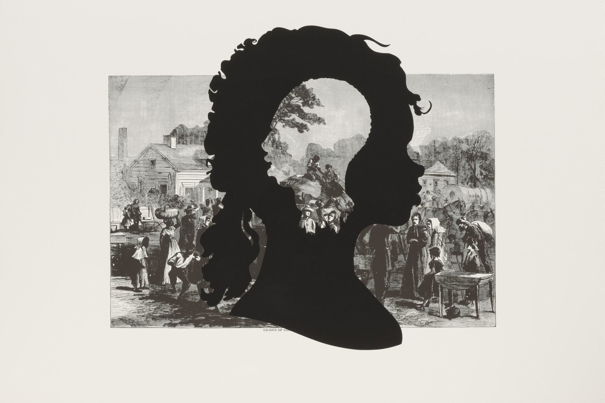"Kara Walker. Exodus of Confederates from Atlanta, from the portfolio Harper's Pictorial History of the Civil War (Annotated). 2005. One from a portfolio of fifteen lithograph and screenprints, 39 1/16 x 52 15/16"" (99.2 x 134.4 cm). Publisher and printer: LeRoy Neiman Center for Print Studies, Columbia University, New York. Edition: 35. The Museum of Modern Art. General Print Fund and The Ralph E. Shikes Fund. © 2007 Kara Walker"