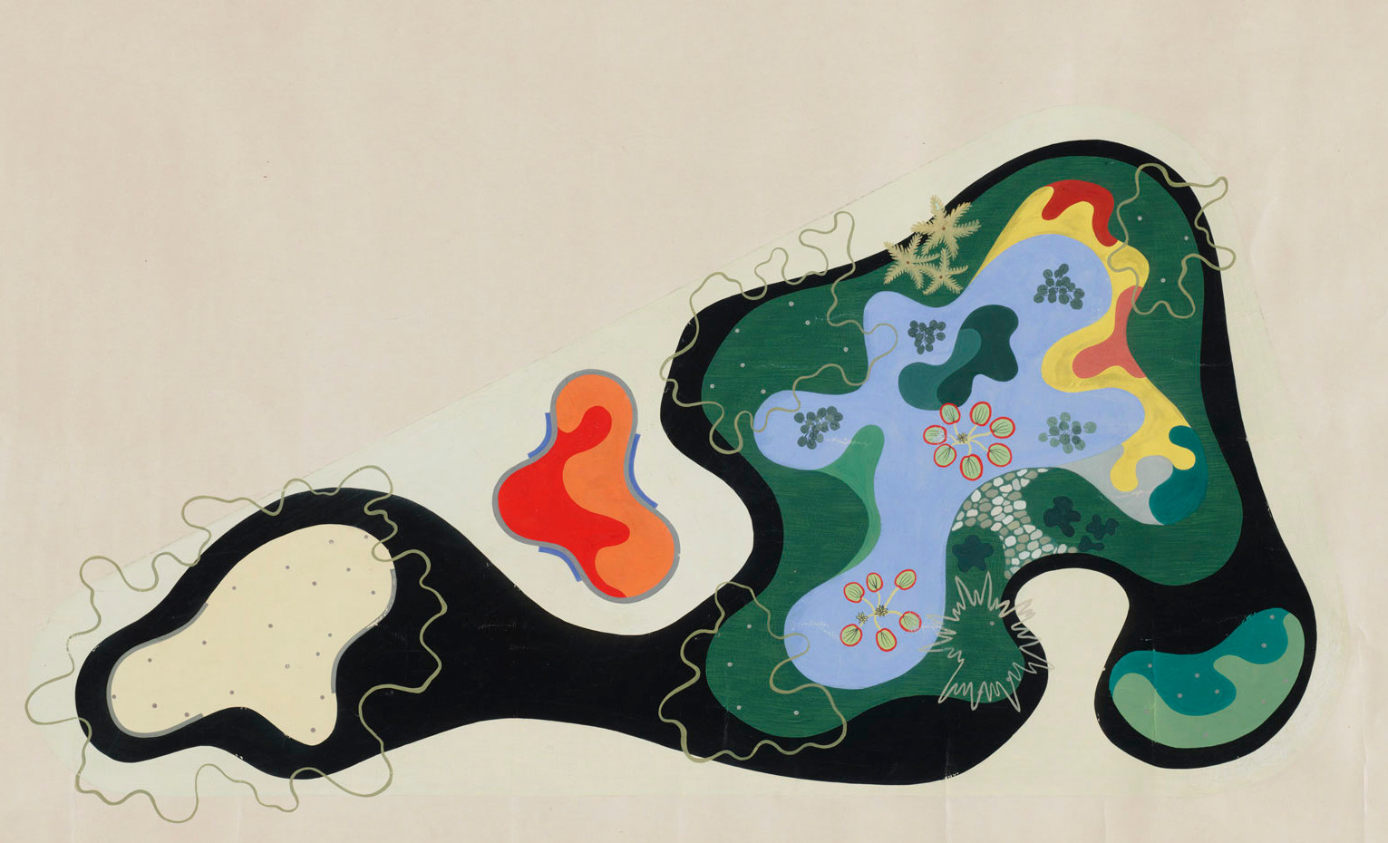 Roberto Burle Marx. Garden Design Saenz Peña Square, Rio de Janeiro, Brazil, Plan, 1948. Gouache on paper, 24 3/8 × 40″ (61.9 × 101.6 cm). The Museum of Modern Art, New York. Gift of Philip L. Goodwin