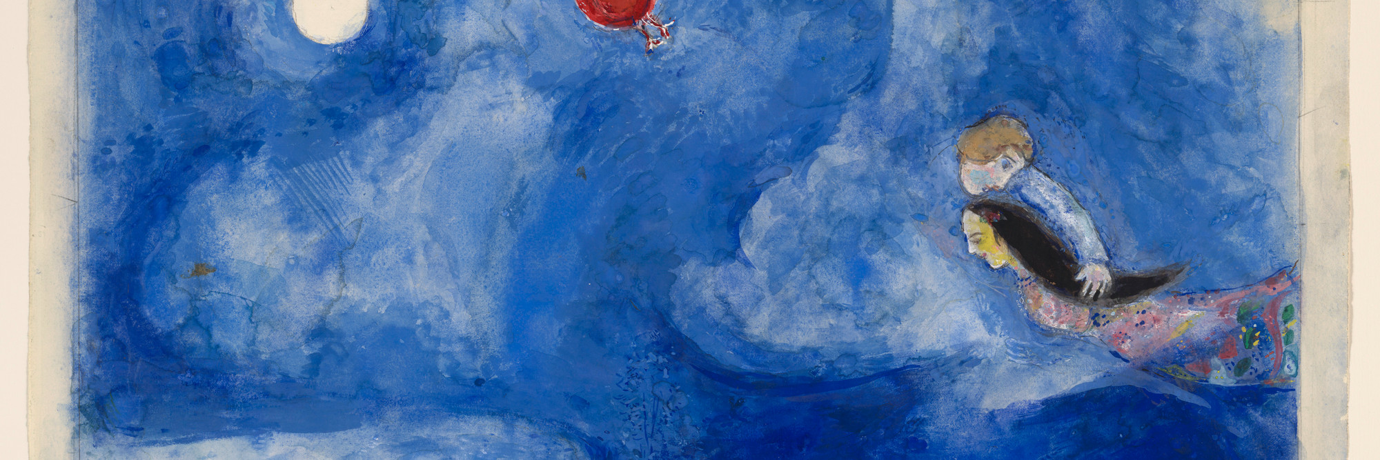 Marc Chagall. <em>Aleko and Zemphira by Moonlight.</em> Study for backdrop for Scene I of the ballet <em>Aleko.</em> 1942. Gouache and pencil on paper, 15 1/8 × 22 1/2″ (38.4 × 57.2 cm). The Museum of Modern Art. Acquired through the Lillie P. Bliss Bequest. © 2009 Artists Rights Society (ARS), New York/ADAGP, Paris.