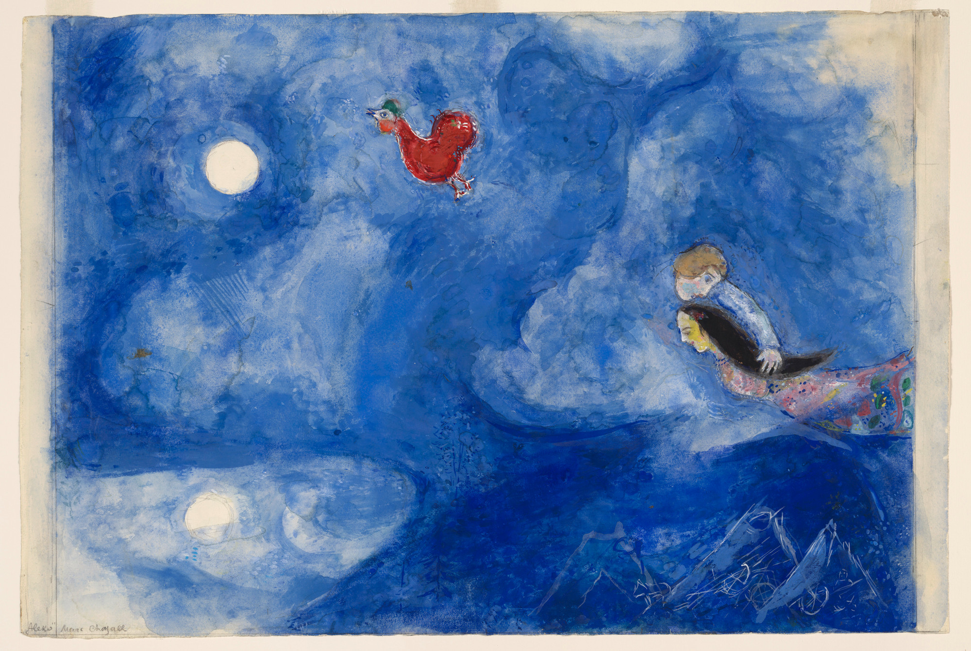 "Marc Chagall. Aleko and Zemphira by Moonlight. Study for backdrop for Scene I of the ballet Aleko. 1942. Gouache and pencil on paper, 15 1/8 x 22 1/2"" (38.4 x 57.2 cm). The Museum of Modern Art. Acquired through the Lillie P. Bliss Bequest. © 2009 Artists Rights Society (ARS), New York/ADAGP, Paris."