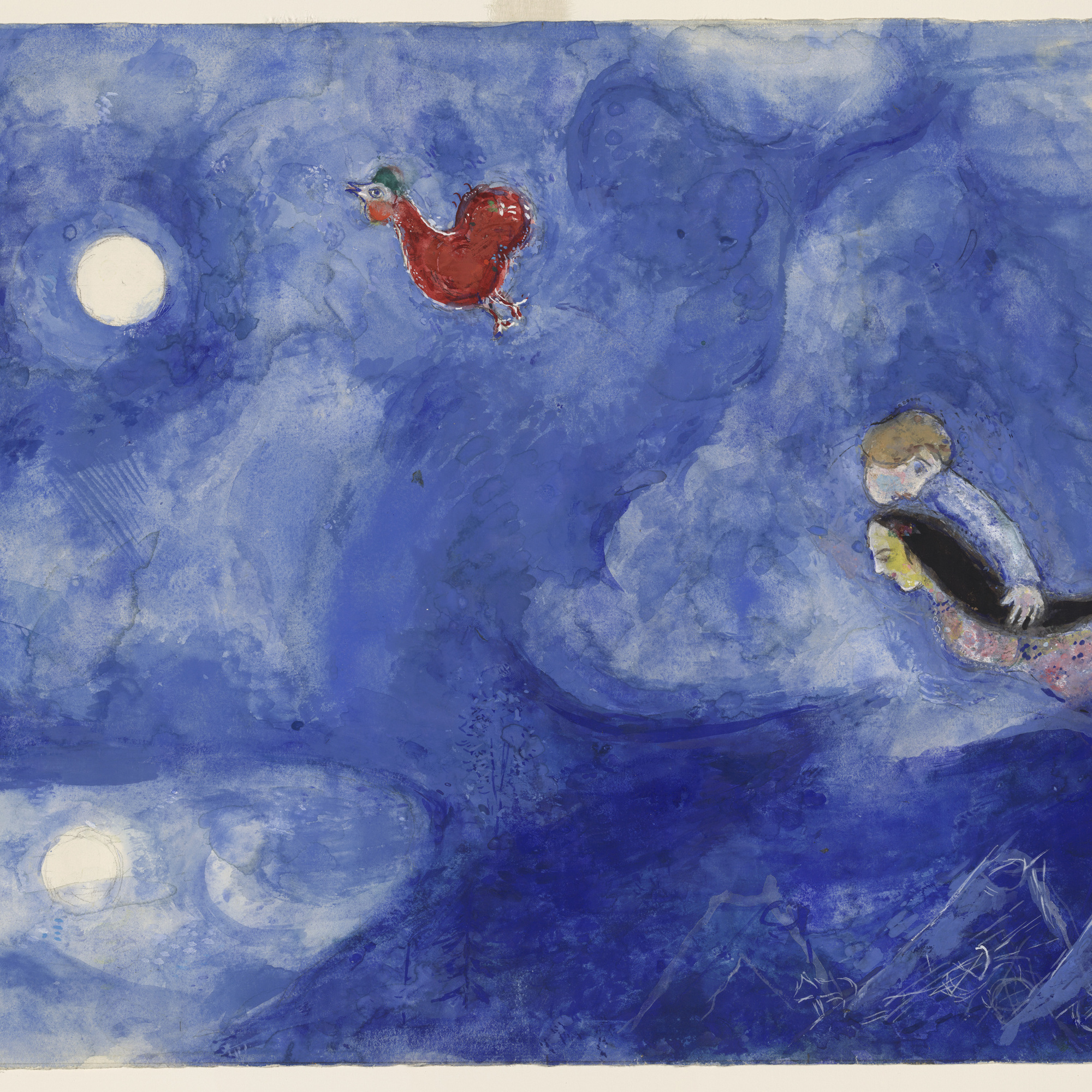 Marc Chagall. Aleko and Zemphira by Moonlight. Study for backdrop for Scene I of the ballet Aleko. 1942. Gouache and pencil on paper, 15 1/8 × 22 1/2″ (38.4 × 57.2 cm). The Museum of Modern Art. Acquired through the Lillie P. Bliss Bequest. © 2009 Artists Rights Society (ARS), New York/ADAGP, Paris.