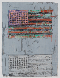 Jasper Johns. Flags II. 1970. Lithograph. Composition: 33 3/8 × 24 1/2″ (84.8 × 62.2 cm); sheet (irreg.): 33 3/8 × 24 1/2″ (84.8 × 62.2 cm). Publisher and printer: Universal Limited Art Editions, West Islip, New York. Edition: 9. Gift of the Celeste and Armand Bartos Foundation. © Jasper Johns and U.L.A.E./Licensed by VAGA, New York, NY