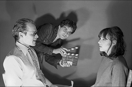 Will Patton, Michael Oblowitz and Rosemary Hochschild on the set of Circuits of Control: I/Land. 1978⁄2014. Directed by Michael Oblowitz. Courtesy Michael Oblowitz