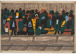 "Jacob Lawrence. The Migration Series. 1940–41. Panel 60: ""And the migrants kept coming."" Casein tempera on hardboard, c. 12 x 18"" (30.5 x 45.7 cm). The Museum of Modern Art, New York. Gift of Mrs. David M. Levy. © 2015 The Jacob and Gwendolyn Knight Lawrence Foundation, Seattle/Artists Rights Society (ARS), New York. Digital image © The Museum of Modern Art, New York"