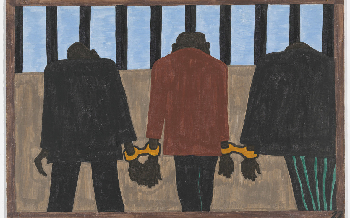 "Jacob Lawrence. The Migration Series. 1940–41. Panel 22 of 60: ""Another of the social causes of the migrants' leaving was that at times they did not feel safe, or it was not the best thing to be found on the streets late at night. They were arrested on the slightest provocation."" Casein tempera on hardboard, c. 12 x 18"" (30.5 cm x 45.7 cm). The Museum of Modern Art, New York. Gift of Mrs. David M. Levy. © 2015 The Jacob and Gwendolyn Knight Lawrence Foundation, Seattle/Artists Rights Society (ARS), New York. Digital image © The Museum of Modern Art, New York"