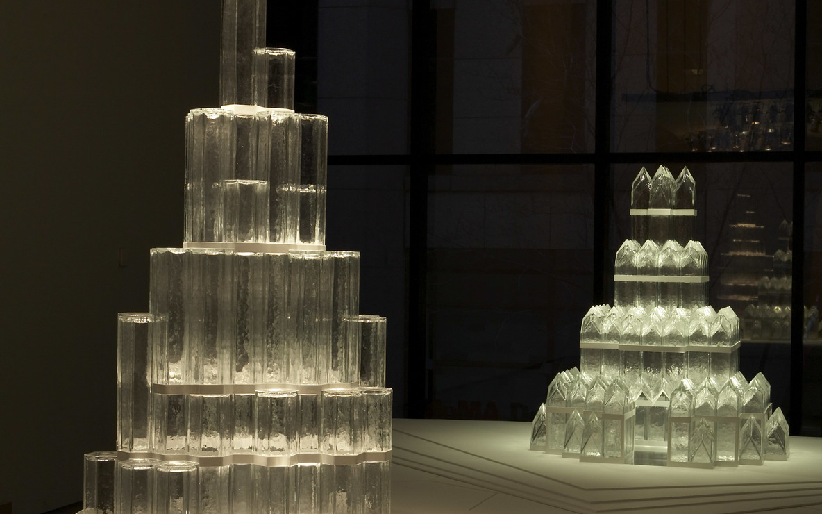 Josiah McElheny. *The Alpine Cathedral* and the *City-Crown*, 2007. Installation of glass, metal, wood, Plexiglas, colored electric lights, 14′ × 8′ × 9′ 9″. Courtesy of the artist and Andrea Rosen Gallery, New York, and Donald Young Gallery, Chicago. Photo: Robin Holland