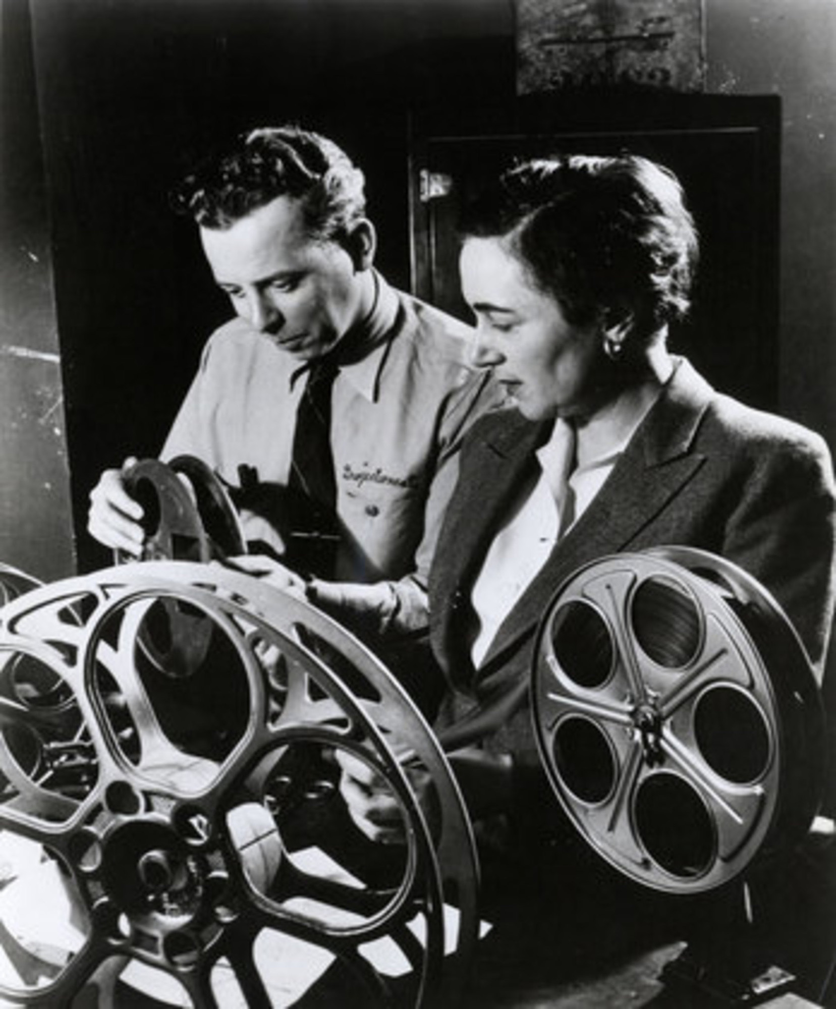 Iris Barry with projectionist Artie Steiger