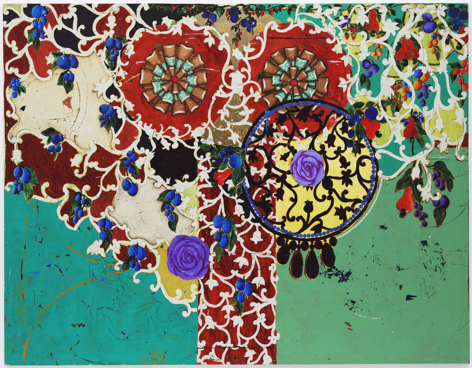 Beatriz Milhazes. Succulent Eggplants. 1996. Synthetic polymer paint on canvas, 74 3⁄4 × 96 1/2″ (189.9 × 245.1 cm). Gift of Agnes Gund and Nina and Gordon Bunshaft Bequest Fund. © 2007 Beatriz Milhazes