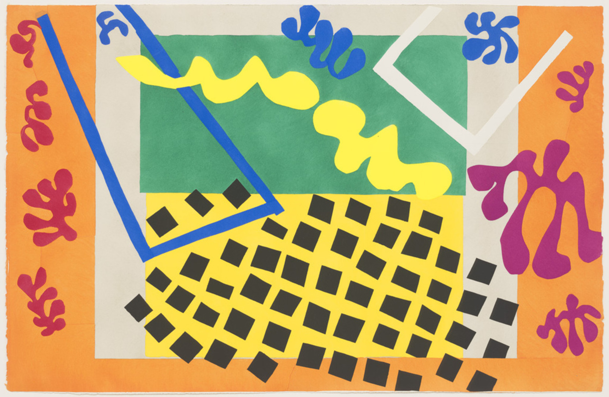 "Henri Matisse (French, 1869–1954). The Codomas (Les Codomas) from Jazz. 1947. One from a portfolio of twenty pochoirs, composition (irreg.) and sheet: 16 5/8 × 25 5/8"" (42.2 × 65.1 cm). Gift of the artist. © 2014 Succession H. Matisse / Artists Rights Society (ARS), New York"
