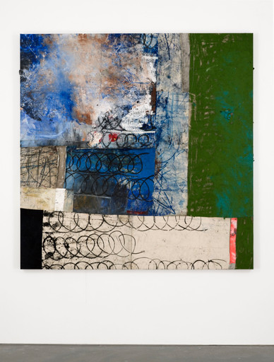 "Oscar Murillo. 7+. 2013–14. Oil, oil stick, spray, and graphite on canvas and linen, 82 1⁄2 × 82 1⁄2"" (209.6 × 209.6 cm). Courtesy the artist and David Zwirner, New York/London and Carlos/Ishikawa, London. Photo: Matthew Hollow"