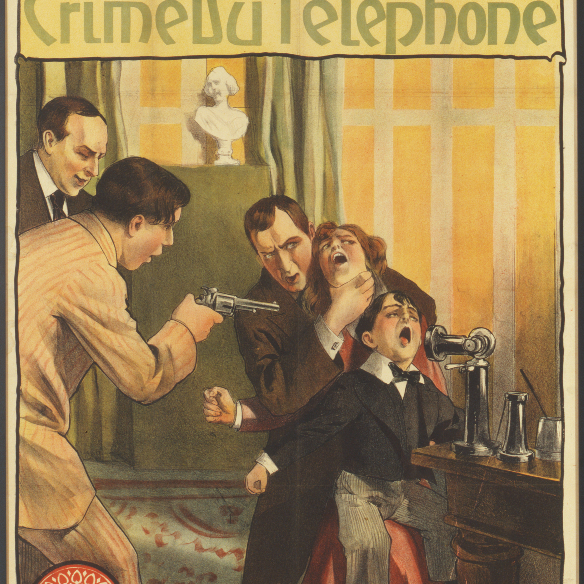 Poster for Bout-de-Zan et le crime au telephone (1914, France, Gaumont, Directed by Louis Feuillade). Lithograph, 40 × 30″ (101.6 × 76.2 cm). Department of Film Collection