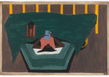 "Jacob Lawrence. The Migration Series. 1940-41. Panel 33 of 60: ""People who had not yet come North received letters from their relatives telling them of the better conditions that existed in the North."" Casein tempera on hardboard, c. 12 x 18"" (30.5 cm x 45.7 cm). The Phillips Collection, Washington, D.C. Acquired 1942. © 2015 The Jacob and Gwendolyn Knight Lawrence Foundation, Seattle/Artists Rights Society (ARS), New York. Photograph courtesy The Phillips Collection, Washington, D.C."