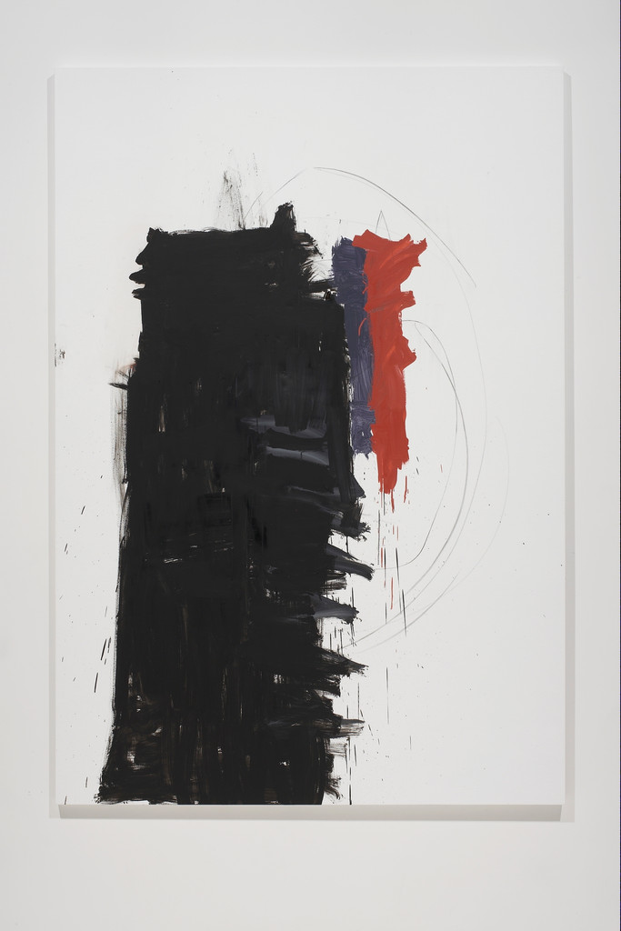 "Richard Aldrich. *Angie Adams/Franz Kline*. 2010–11. Oil, wax, and vine charcoal on cut linen, 7' x 58"" (213.4 x 147.3 cm). Collection David A. and Barbara L. Farley. Courtesy the artist and Bortolami Gallery, New York. Photo: Farzad Owrang"