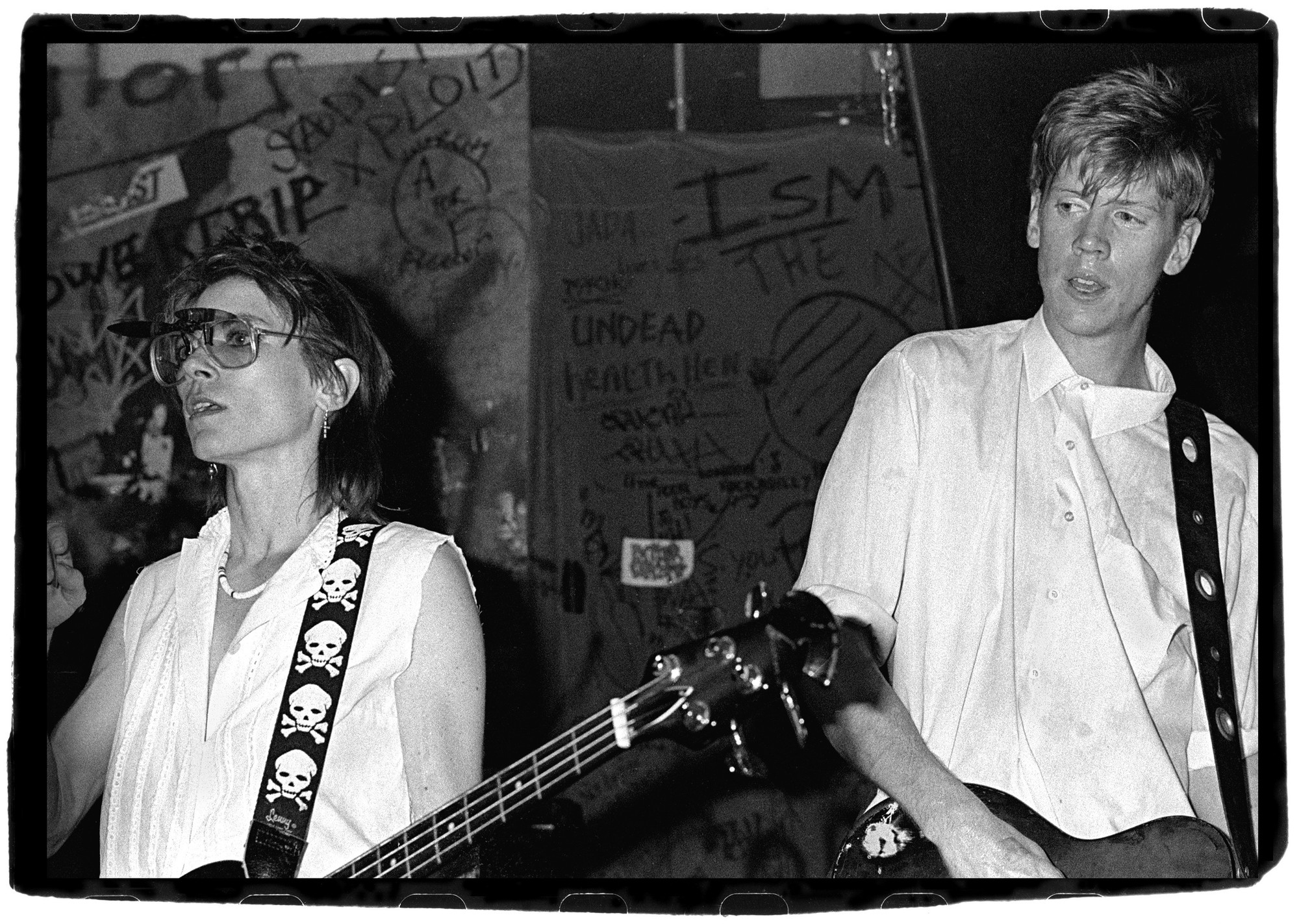 "Stephanie Chernikowski. Sonic Youth. 1983. Black-and-white photograph, 11 x 17"" (27.9 x 43.2 cm). The Museum of Modern Art Library. Gift of the artist"