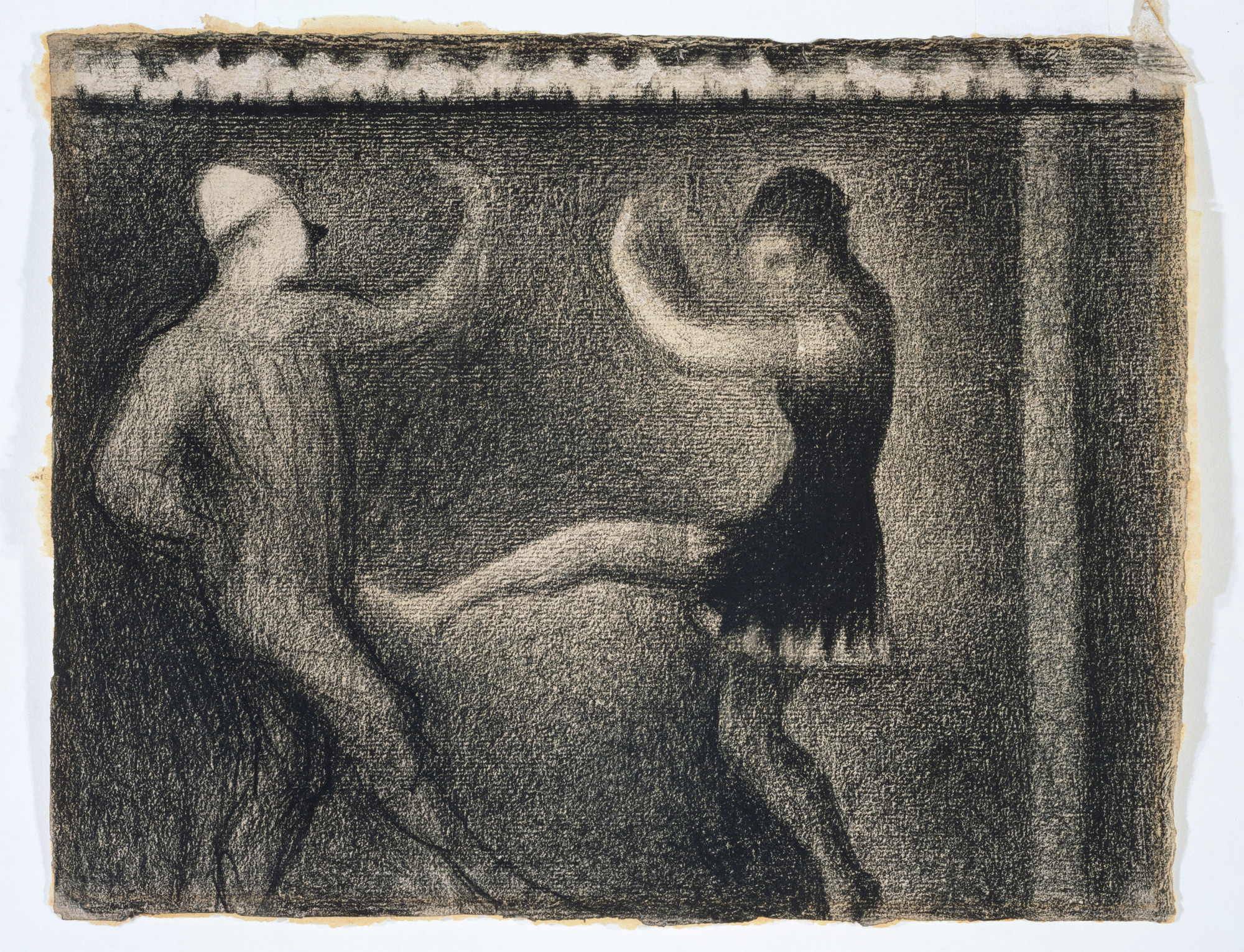 Georges Seurat. Pierrot and Colombine. c. 1887–88. Conté crayon on paper, 9 3⁄4 × 12 5/16″ (24.8 × 31.2 cm). The Kasama Nichido Museum of Art