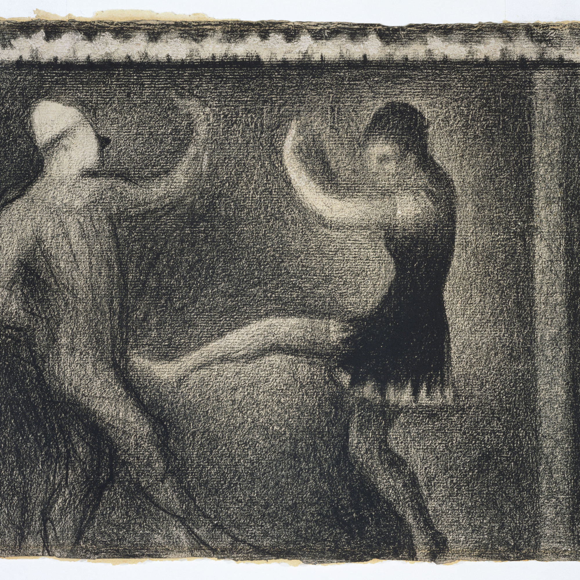Georges Seurat. Pierrot and Colombine. c. 1887–88. Conté crayon on paper, 9 3/4 × 12 5/16″ (24.8 × 31.2 cm). The Kasama Nichido Museum of Art