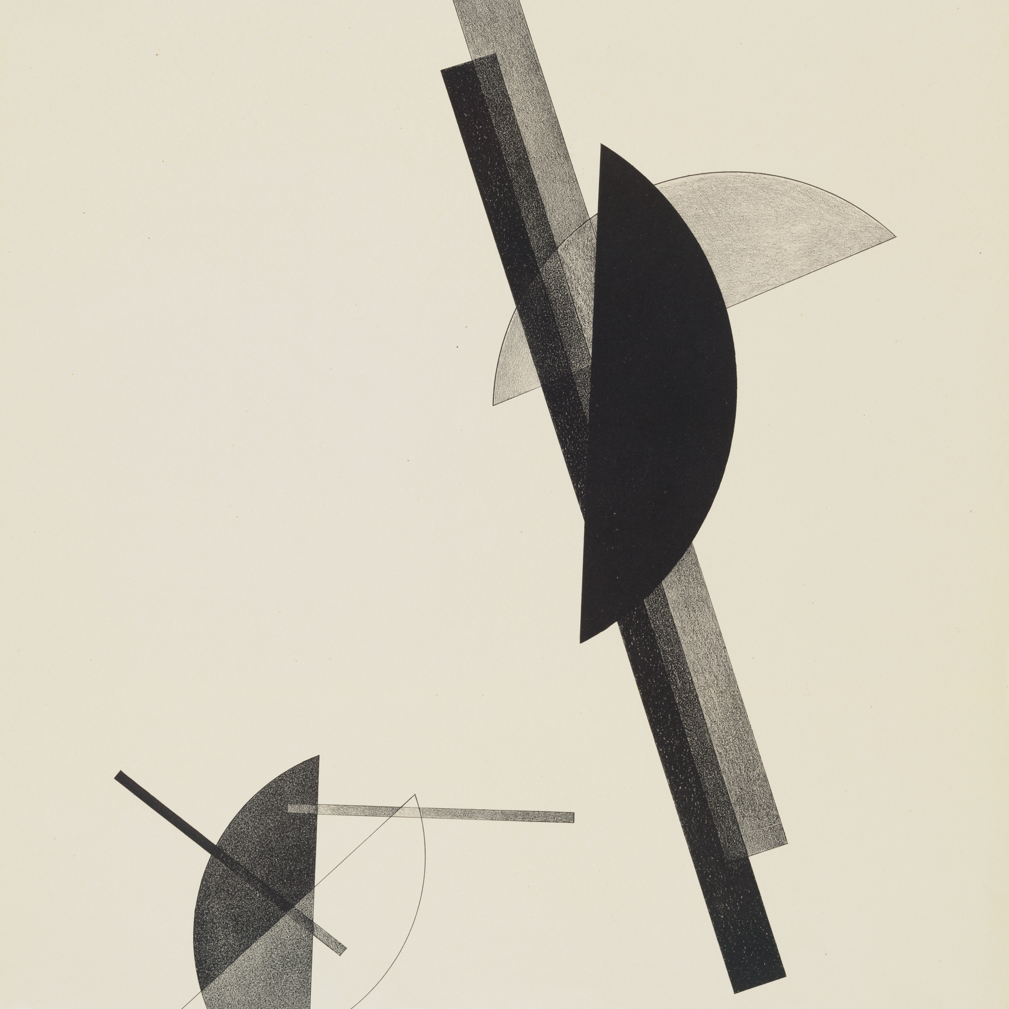 László Moholy-Nagy. Untitled, from Constructions. 1923. Lithograph, sheet: 23 9/16 × 17 5/16″ (59.8 × 44 cm). Publisher: Eckart von Sydow and Verlag des Buchhändlers Ludwig Eye, Hannover, Germany. Printer: Leunis & Chapman, Hannover, Germany. Edition: 50. The Museum of Modern Art. Acquired through the publisher. © 2008 Artists Rights Society (ARS), New York/VG Bild-Kunst, Bonn