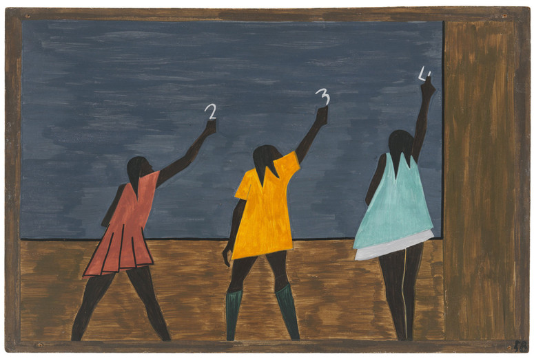 "Jacob Lawrence. <em>The Migration Series</em>. 1940-41. Panel 58: ""In the North the Negro had better educational facilities."" Casein tempera on hardboard, 18 x 12″ (45.7 x 30.5 cm). The Museum of Modern Art, New York. Gift of Mrs. David M. Levy. © 2015 The Jacob and Gwendolyn Knight Lawrence Foundation, Seattle / Artists Rights Society (ARS), New York. Digital image © The Museum of Modern Art/Licensed by SCALA / Art Resource, NY"